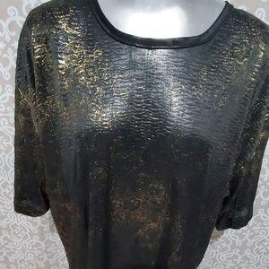 Trimmings Plus Tops - Vintage Trimmings Plus Black&Gold Paisley Blouse